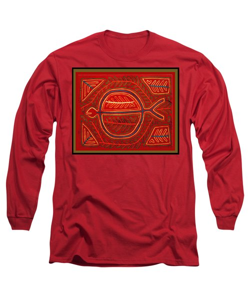 Long Sleeve T-Shirt featuring the digital art Kuna Indian Stingray Mola by Vagabond Folk Art - Virginia Vivier