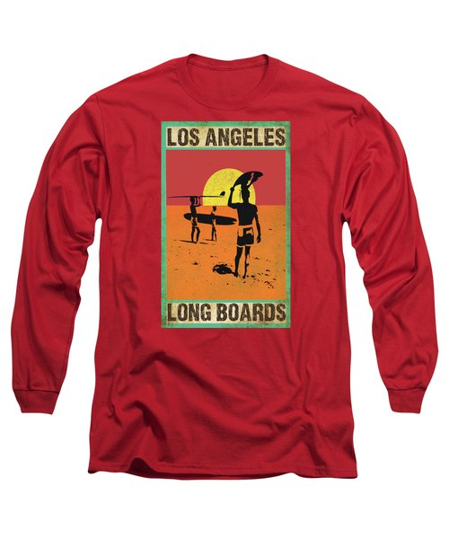 Long Sleeve T-Shirt featuring the digital art La Long Boards by Greg Sharpe