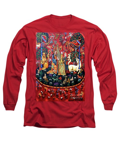 Long Sleeve T-Shirt featuring the painting Lady And The Unicorn Sound by Genevieve Esson