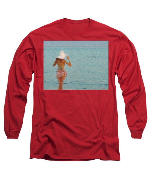 Lady At The Beach Long Sleeve T-Shirt