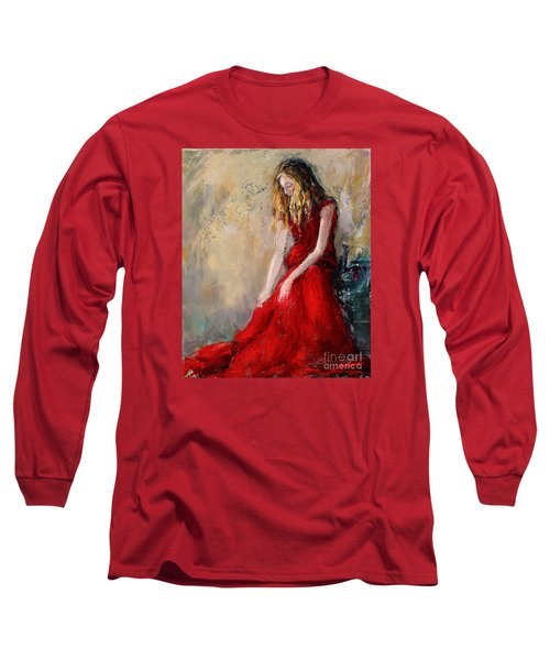 Long Sleeve T-Shirt featuring the painting Lady In Red 2 by Jennifer Beaudet