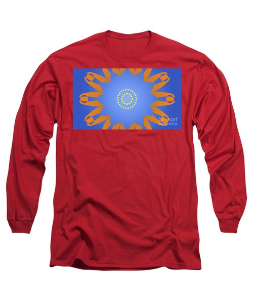Landscape Abstract Blue, Orange And Yellow Star Long Sleeve T-Shirt