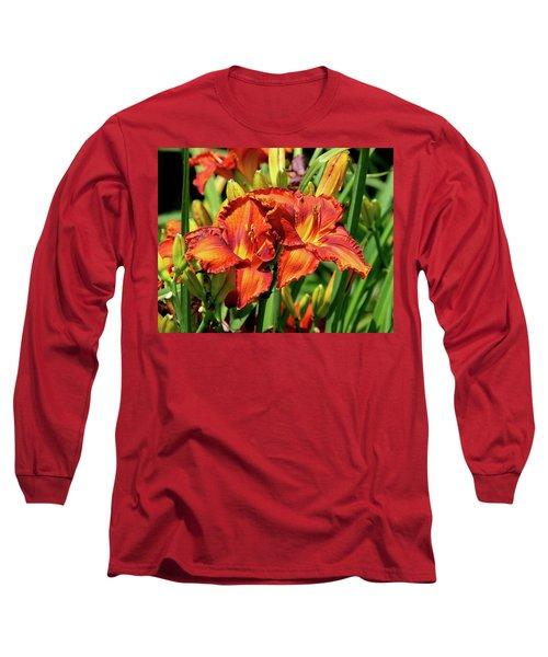 Large Deep Orange Tiger Lilys Long Sleeve T-Shirt