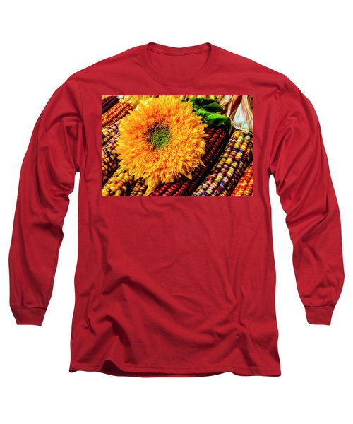 Large Sunflower On Indian Corn Long Sleeve T-Shirt