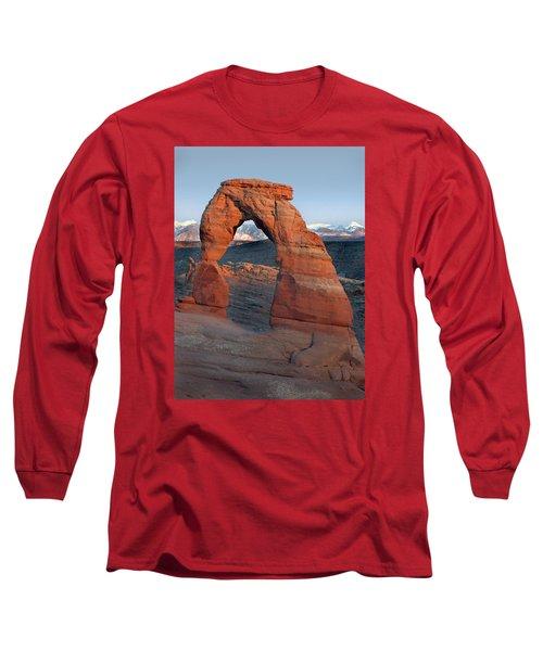Last Light On Delicate Arch  Long Sleeve T-Shirt by Jeff Brunton