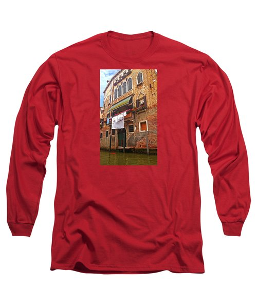 Long Sleeve T-Shirt featuring the photograph Laundry Drying In Venice by Anne Kotan