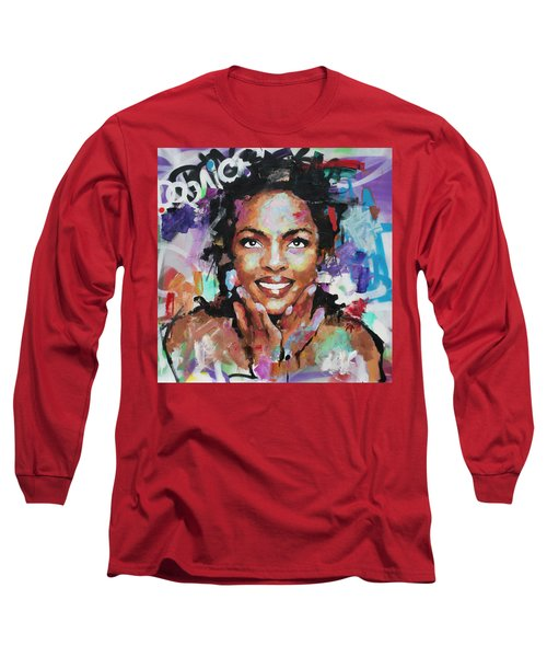 Long Sleeve T-Shirt featuring the painting Lauryn Hill by Richard Day