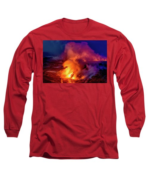 Lava And Ocean At Dawn Long Sleeve T-Shirt by Allen Biedrzycki