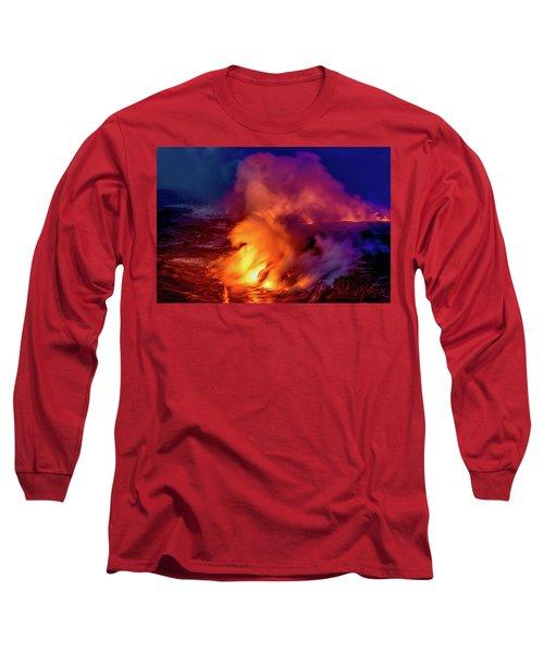 Lava And Ocean At Dawn Long Sleeve T-Shirt