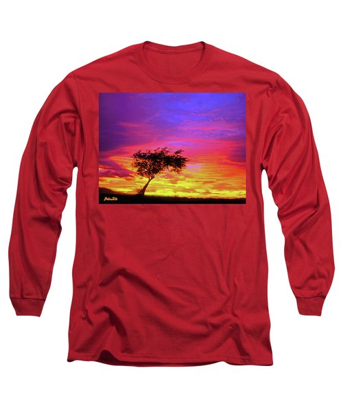 Leaning Tree At Sunset Long Sleeve T-Shirt