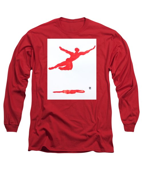 Long Sleeve T-Shirt featuring the painting Leap Water Vermillion by Shungaboy X