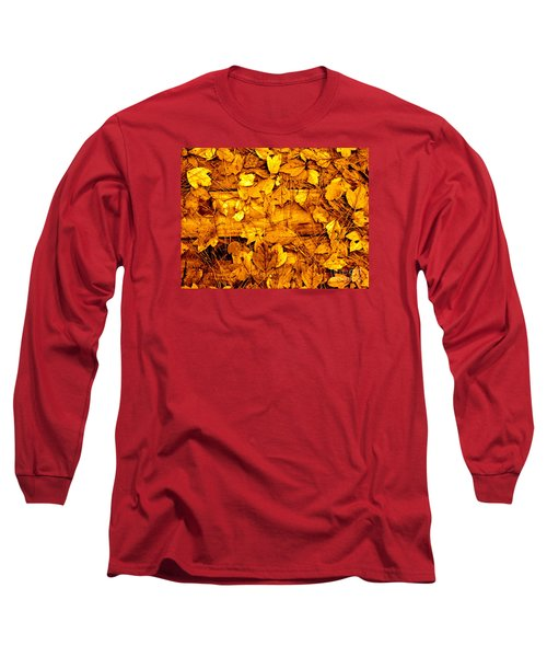 Leaves Of Sepia Long Sleeve T-Shirt by Cathy Dee Janes