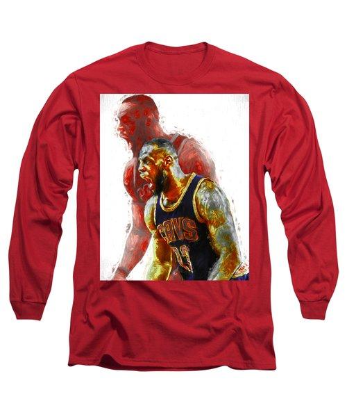 Lebron James 23 1 Cleveland Cavs Digital Painting Long Sleeve T-Shirt by David Haskett