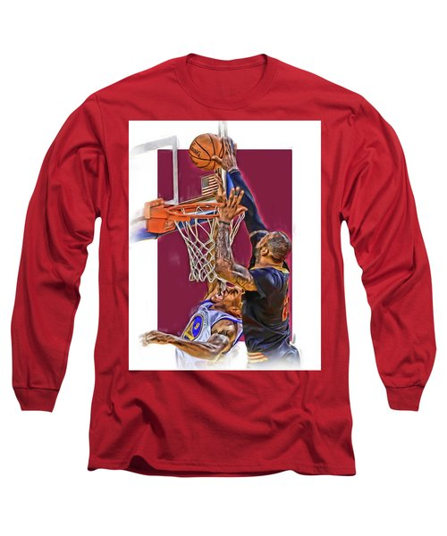 Lebron James Cleveland Cavaliers Oil Art Long Sleeve T-Shirt