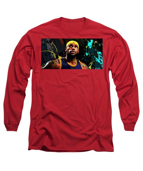 Long Sleeve T-Shirt featuring the painting Lebron by Richard Day