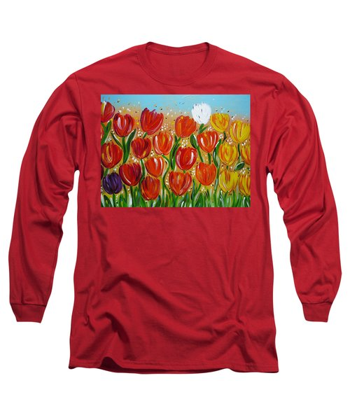 Long Sleeve T-Shirt featuring the painting Les Tulipes - The Tulips by Gioia Albano