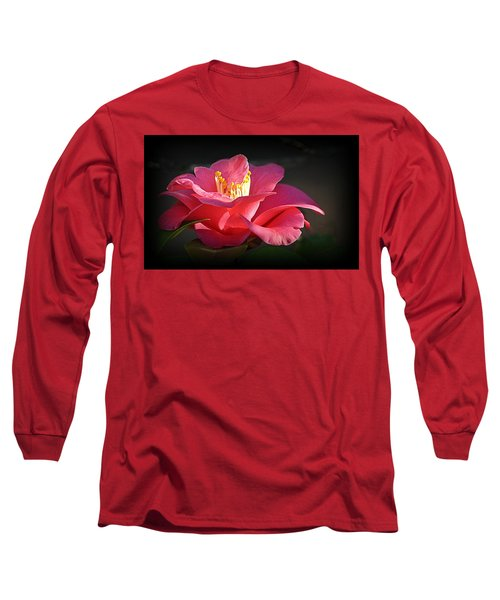 Long Sleeve T-Shirt featuring the photograph Lighted Camellia by AJ Schibig