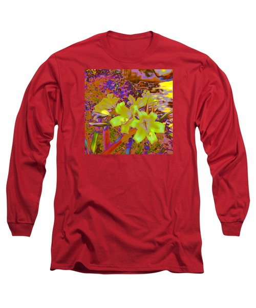 Long Sleeve T-Shirt featuring the photograph Lily Glow Yellow by M Diane Bonaparte