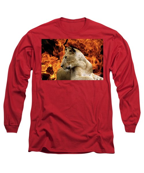 Lion And Fire Long Sleeve T-Shirt by Inspirational Photo Creations Audrey Woods