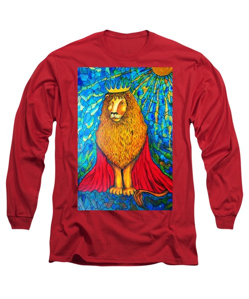 Long Sleeve T-Shirt featuring the painting Lion-king by Rae Chichilnitsky
