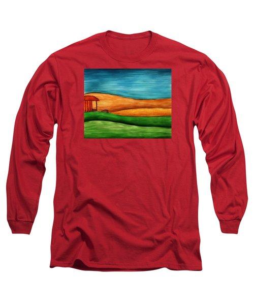 Little House On Hill Long Sleeve T-Shirt by Brenda Bryant