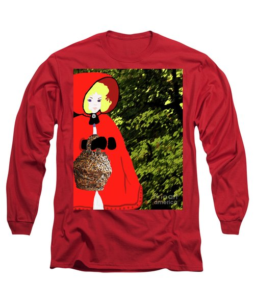 Long Sleeve T-Shirt featuring the painting Little Red Riding Hood In The Forest by Marian Cates