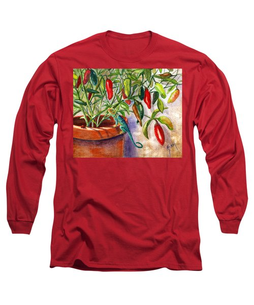 Long Sleeve T-Shirt featuring the painting Lizard In Hot Sauce by Marilyn Smith