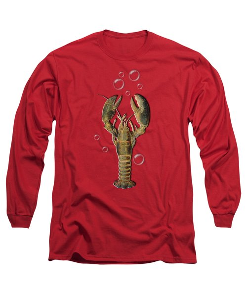 Lobster With Bubbles T Shirt Design Long Sleeve T-Shirt by Bellesouth Studio