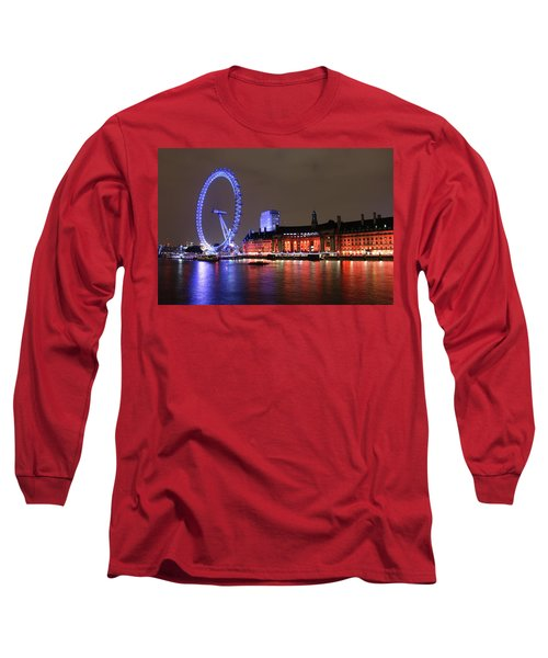 London Eye By Night Long Sleeve T-Shirt by RKAB Works