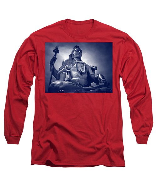 Long Sleeve T-Shirt featuring the digital art Lord Shiva by Bliss Of Art