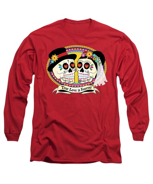 Los Novios Sugar Skulls Long Sleeve T-Shirt by Tammy Wetzel