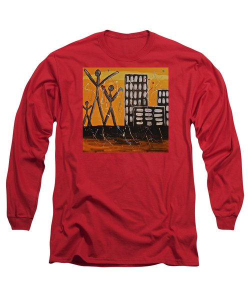 Long Sleeve T-Shirt featuring the painting Lost Cities 13-002 by Mario Perron