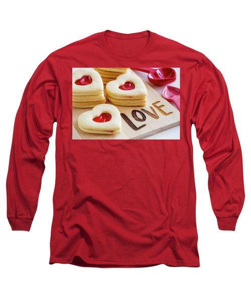 Long Sleeve T-Shirt featuring the photograph Love Heart Cookies by Teri Virbickis