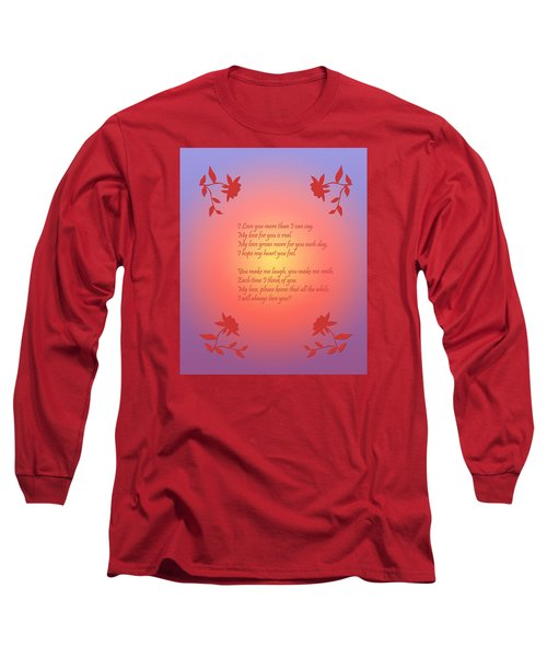 Long Sleeve T-Shirt featuring the digital art Love Poetry by Karen Nicholson