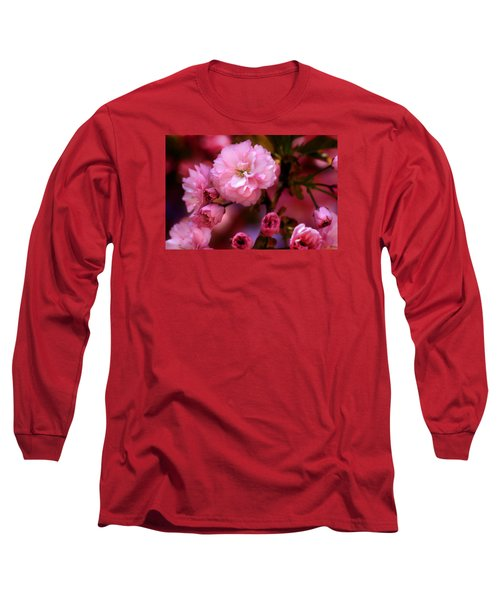 Long Sleeve T-Shirt featuring the photograph Lovely Spring Pink Cherry Blossoms by Shelley Neff