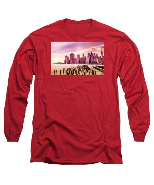 Lower Manhattan And Ferry Long Sleeve T-Shirt by Rima Biswas