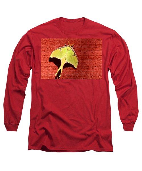 Luna Moth On Red Barn Long Sleeve T-Shirt by Sheila Brown