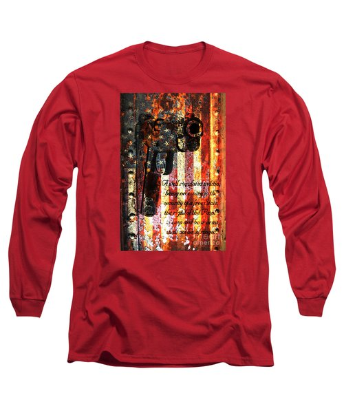 M1911 Pistol And Second Amendment On Rusted American Flag Long Sleeve T-Shirt by M L C