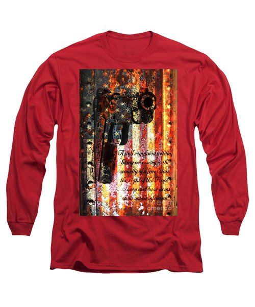 M1911 Pistol And Second Amendment On Rusted American Flag Long Sleeve T-Shirt