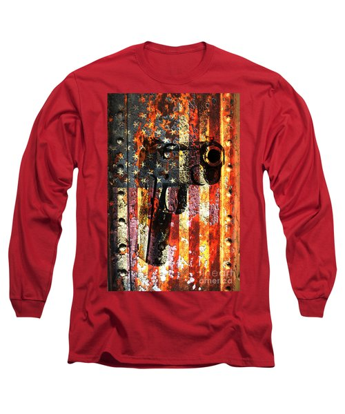 M1911 Silhouette On Rusted American Flag Long Sleeve T-Shirt by M L C