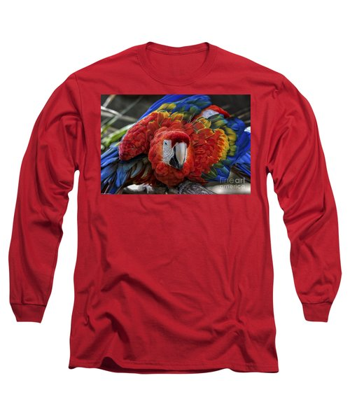 Macaw Parrot Long Sleeve T-Shirt by Mitch Shindelbower