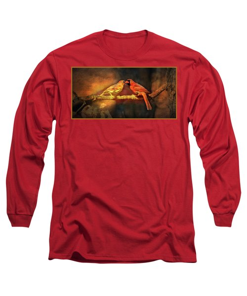Male And Female Cardinal Long Sleeve T-Shirt by Diane Giurco