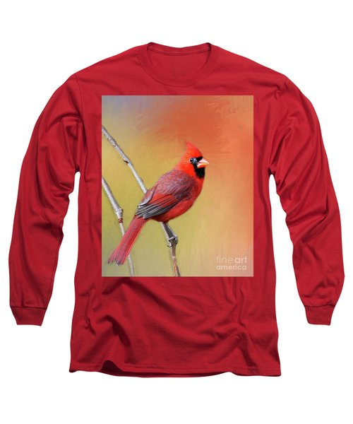 Male Cardinal Perched Long Sleeve T-Shirt by Myrna Bradshaw