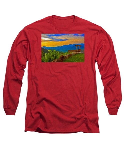 Blue Ridge Sunset From Mama Gertie's Hideaway Long Sleeve T-Shirt