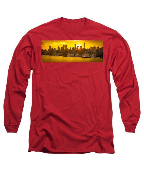Manhattan's Ports At Sunrise Long Sleeve T-Shirt