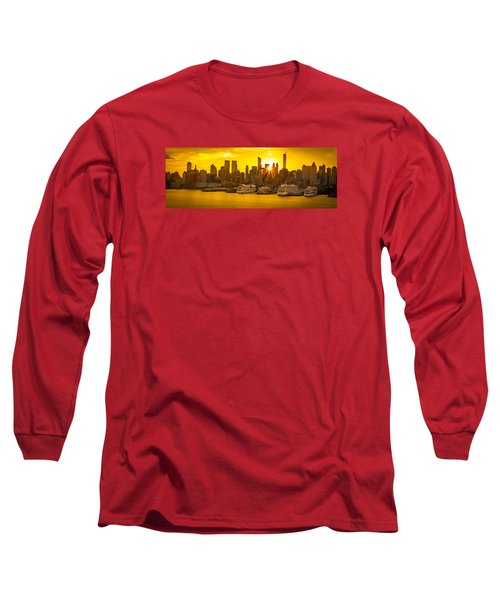 Manhattan's Ports At Sunrise Long Sleeve T-Shirt