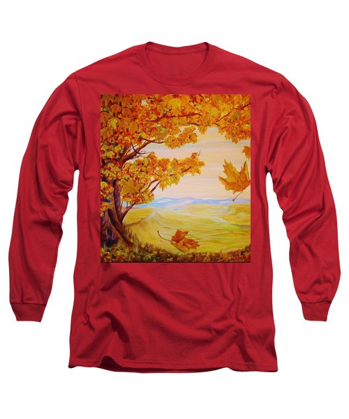 Long Sleeve T-Shirt featuring the painting Maple One by Cathy Long