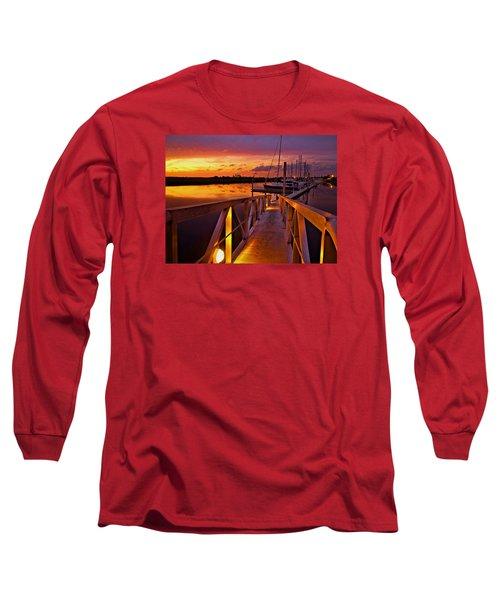 Marina Sunset Long Sleeve T-Shirt by Laura Ragland