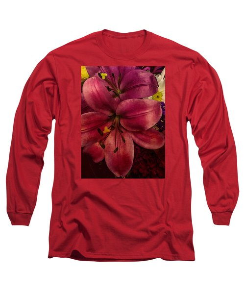 Marsala Lily Long Sleeve T-Shirt by Arlene Carmel