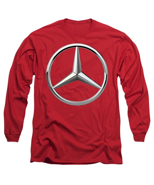 Mercedes-benz - 3d Badge On Red Long Sleeve T-Shirt by Serge Averbukh